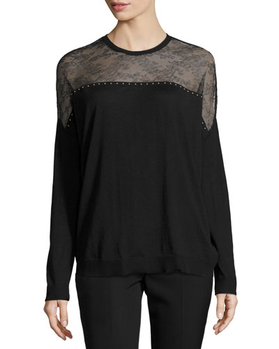 Lace-Yoke Long-Sleeve Sweater, Black