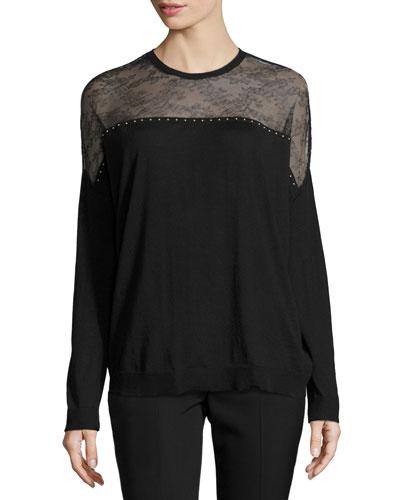 Lace-Yoke Long-Sleeve Sweater, Black