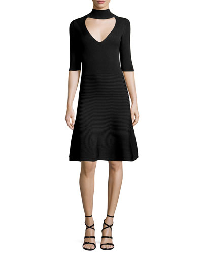 Knit Mock-Neck Dress w/Front Cutout, Black