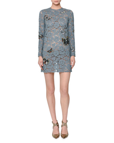 Butterfly-Embellished Lace Mini Dress, Ardesia (Dusty Blue)