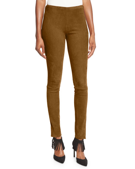 Stretch-Suede Skinny Pants, Henna