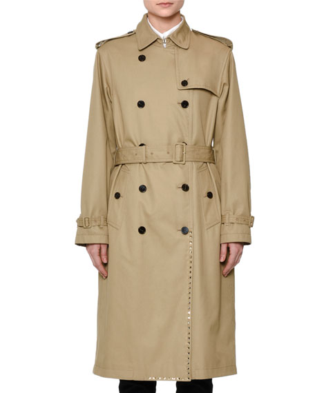 Valentino Woven Double-Breasted Rockstud Trenchcoat, Beige