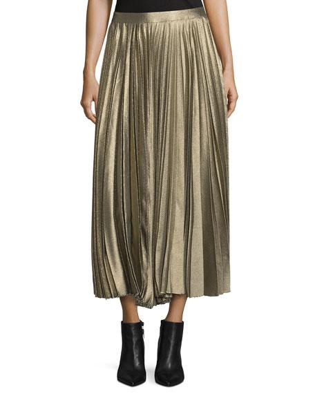 Metallic Accordion-Pleated Midi Skirt, Gold