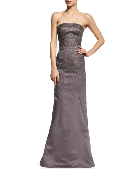 Beaded Strapless Satin Gown, Heather Gray