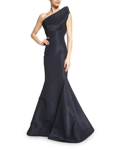 Zac Posen Structured One-Shoulder Mermaid Gown, Midnight