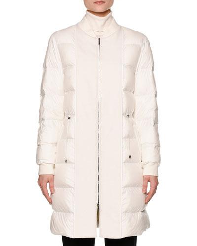 Long Waterproof Down Bomber Jacket, Warm White
