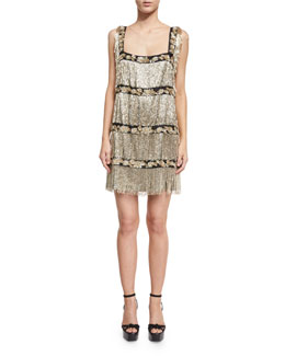 Sleeveless Beaded Fringe Lamé Cocktail Dress