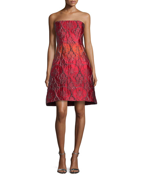 Alberta Ferretti Strapless Jacquard Party Dress, Fantasy Print