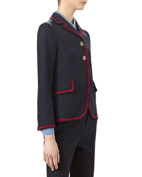 Polka-Dot Cotton Wool Jacket, Ink