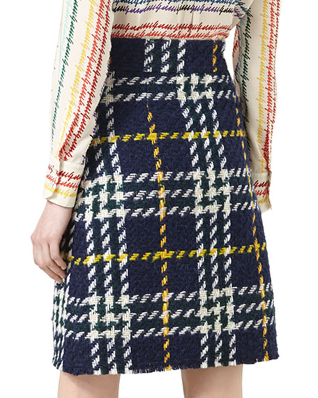 Wales-Check A-Line Skirt, Nectarine/Nuit