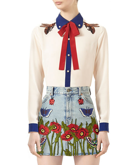 140ef494e Gucci Embroidered Silk Shirt & Embroidered Denim Skirt