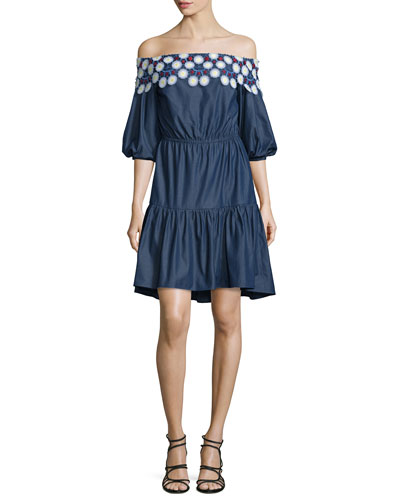 Embroidered Off-the-Shoulder Mini Dress, Indigo