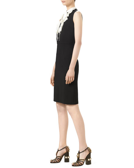 Sleeveless Jersey Dress with Ruffle Front