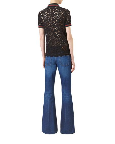Five-Pocket Flare Jeans, Washed Blue Denim