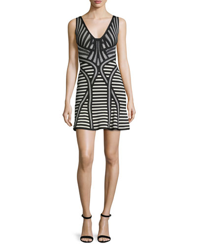 Sleeveless Stripe-Knit Flutter-Hem Dress, Black