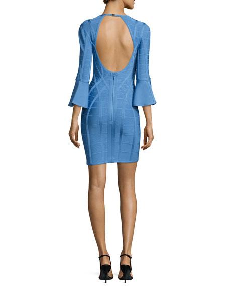 3/4 Flutter-Sleeve Bandage Dress, Blue