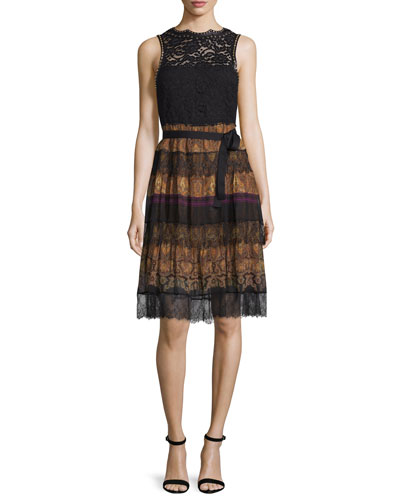 Paisley Tiered-Lace Sleeveless Dress, Black/Gold