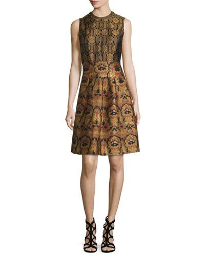 Sleeveless Tapestry & Medallion Jacquard Dress, Gold