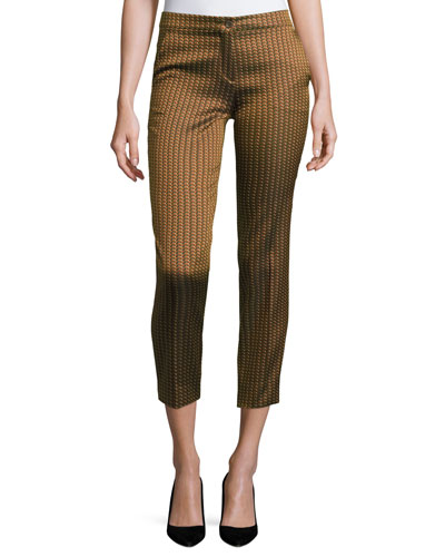Herringbone-Jacquard Cropped Pants, Gold