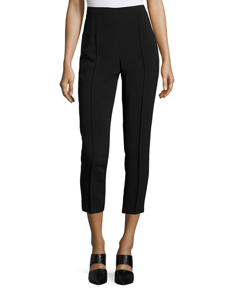 Andrew Gn Classic Cropped Side-Zip Pants, Black