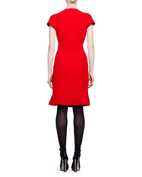 Short-Sleeve Crewneck Flare-Hem Dress, Red