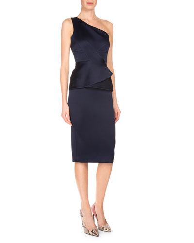One-Shoulder Double-Face Satin Dress, Navy