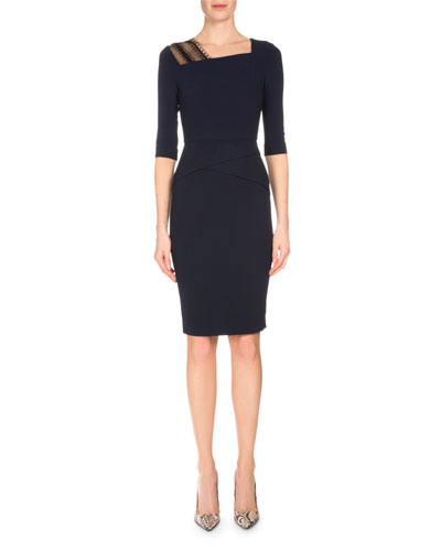 3/4-Sleeve Asymmetric Fitted Dress, Navy/Black