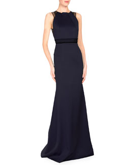 Sleeveless Satin Gown w/Contrast Lace Trim, Navy/Black