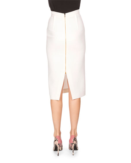 Arreton Fitted Pencil Skirt, White