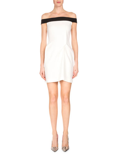 Bicolor Off-the-Shoulder Mini Dress, White/Black