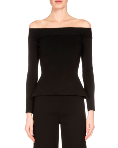 Off-the-Shoulder Long-Sleeve Top, Black