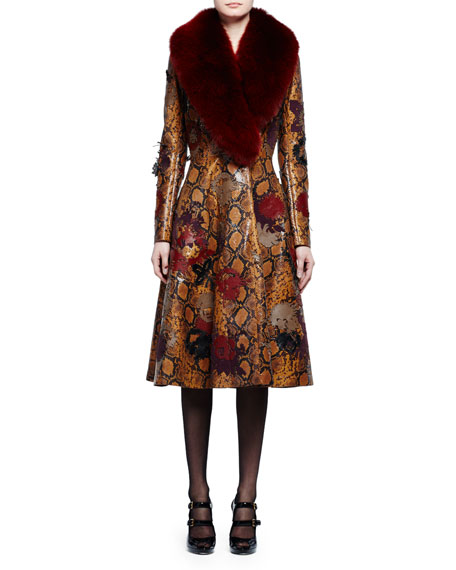 Fur-Collar Python-Embossed Leather Coat, Tobacco/Multi/Ginger