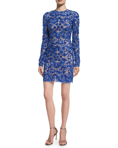Fully Embroidered Long-Sleeve Cocktail Dress, Royal Blue