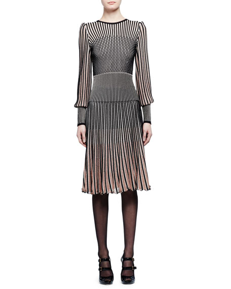 Striped-Knit Long-Sleeve Midi Dress, Black/Pink