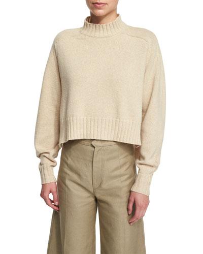 Cropped Mock-Neck Sweater, Ecru