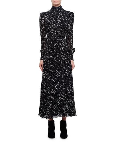 Dot-Print Mock-Neck Midi Dress, Black/White