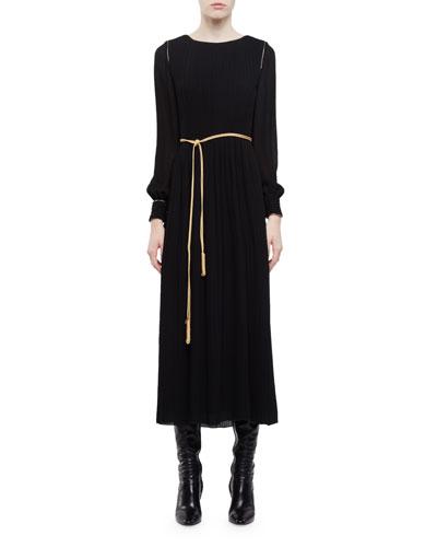Long-Sleeve Pleated Midi Dress W/Golden Trim