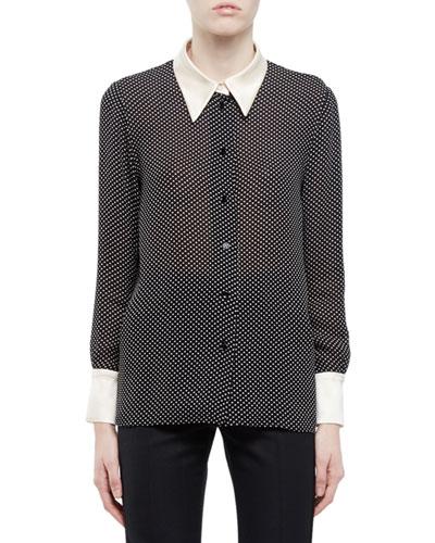 Mini-Star Dot Blouse w/Contrast Collar & Cuffs, Black/White