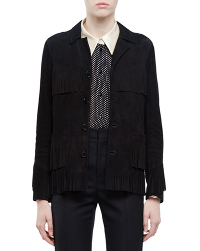 Fringed Suede Jacket, Black