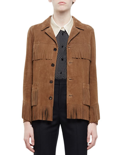 Fringed Suede Jacket, Tan