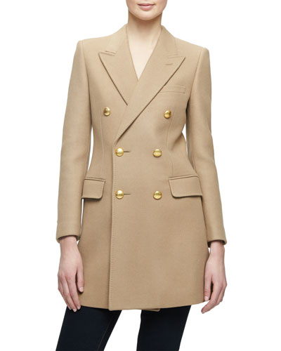 Long Double-Breasted Wool-Blend Jacket, Camel