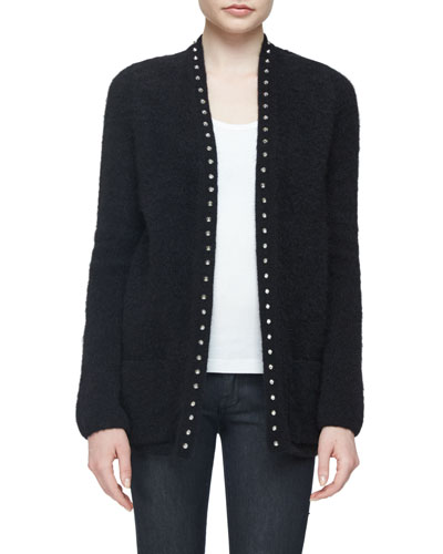 Studded Open-Front Cardigan, Black