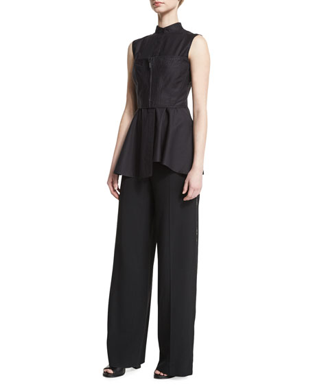 Wide-Leg Side-Zip Crepe Pants, Black