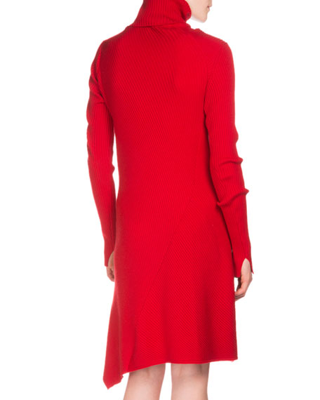 Long-Sleeve Ribbed Turtleneck Dress, Cherry