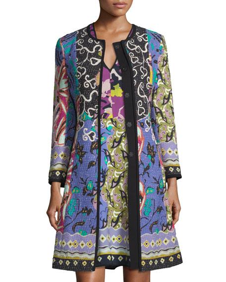 Floral-Patchwork Topper Coat, Blue/Purple