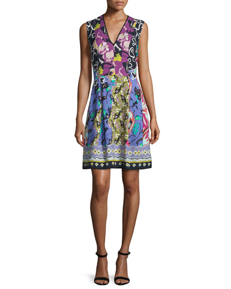 V-Neck Floral-Patchwork Cady Sheath Dress, Green/Multi