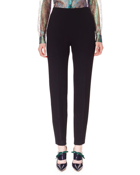 Wool Crepe Skinny Pants