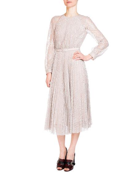 Erdem Rhona Long-Sleeve Pleated Lace Midi Dress, Silver