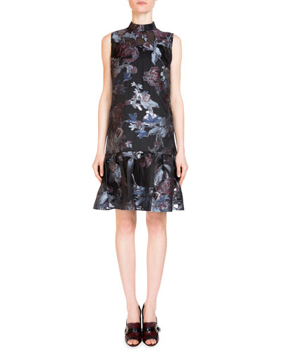 Nena Mock-Neck Fil Coupe Dress, Black/Teal/Blue