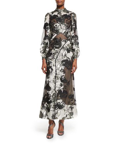 Brianna Metallic Jacquard Long Dress, Ecru/Black